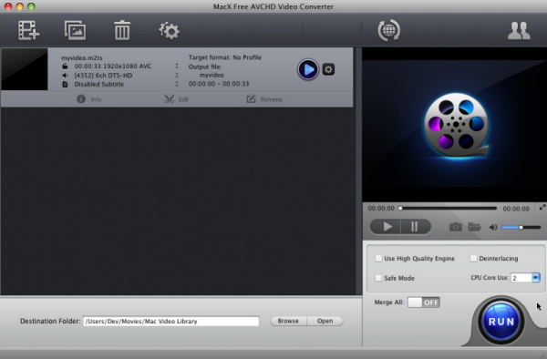 MacX Free AVCHD Video Converter full screenshot