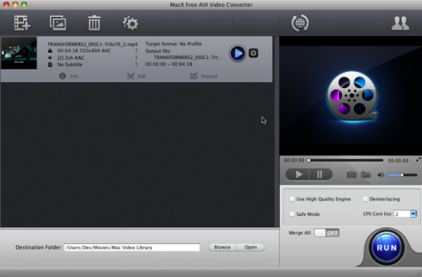 Best free AVI video converter to convert any video to AVI WMV MOV MPEG on Mac versatile Screen Shot