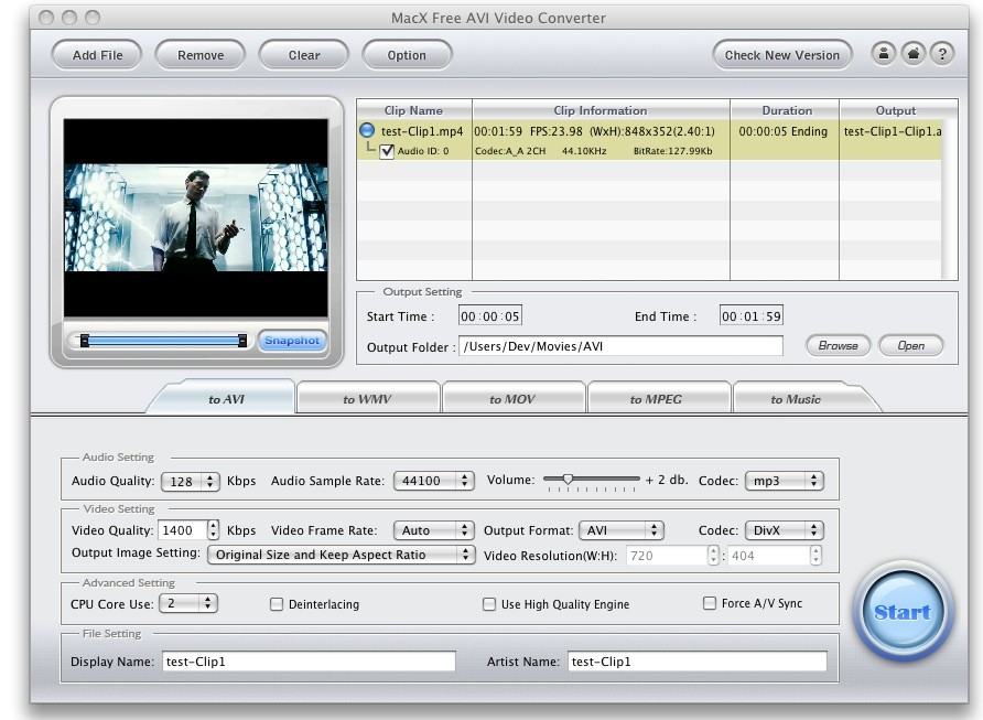 MacX Free AVI Video Converter screenshot