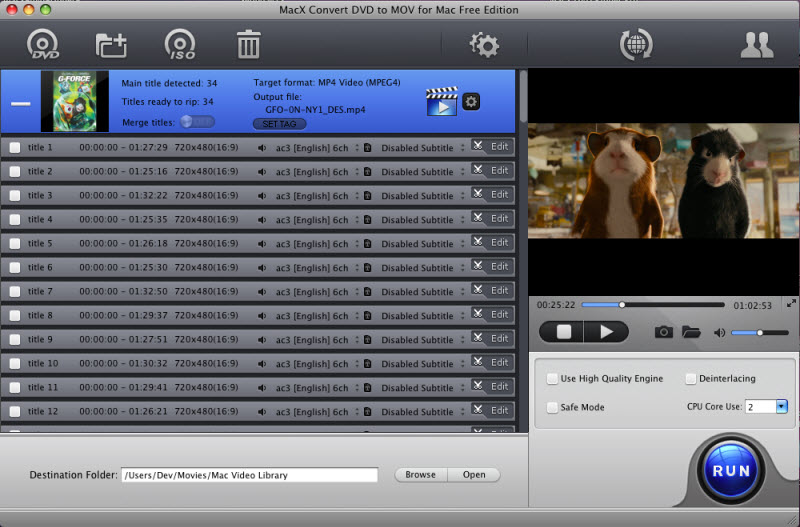 MacX Convert DVD to MOV for Mac Free Screen shot