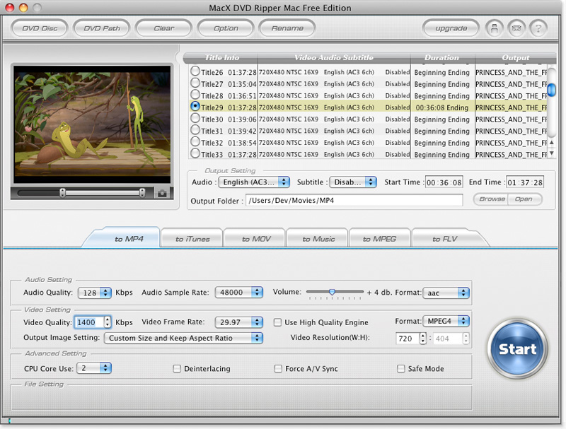 MacX DVD Ripper Mac Free Edition Screen shot