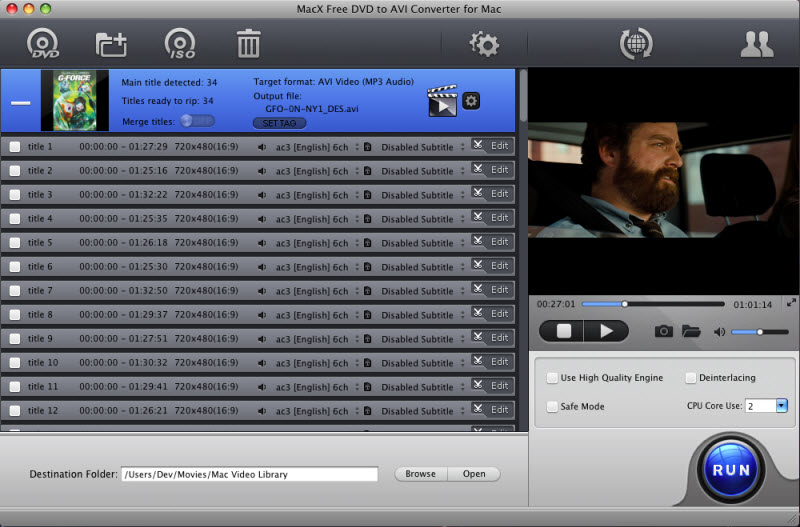 MacX Free DVD to AVI Converter for Mac 4.2.1