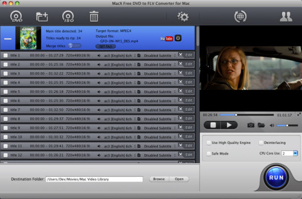 Free convert DVD to FLV,MP4,AVI on Mac OS