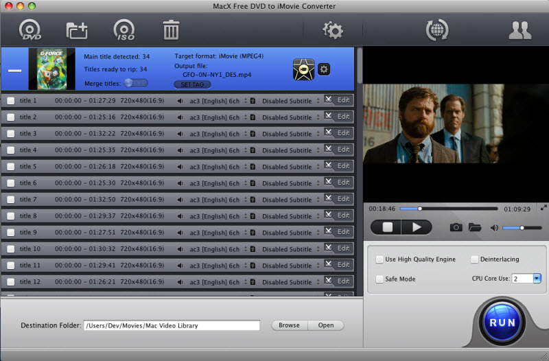 Free convert DVD to iMovie MP4 on Mac quickly