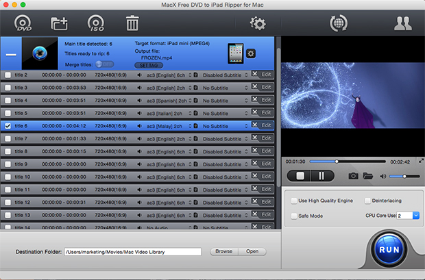 MacX Free DVD to iPad Ripper for Mac 4.1.9