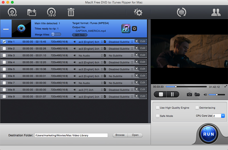 MacX Free DVD to iTunes Ripper for Mac full screenshot