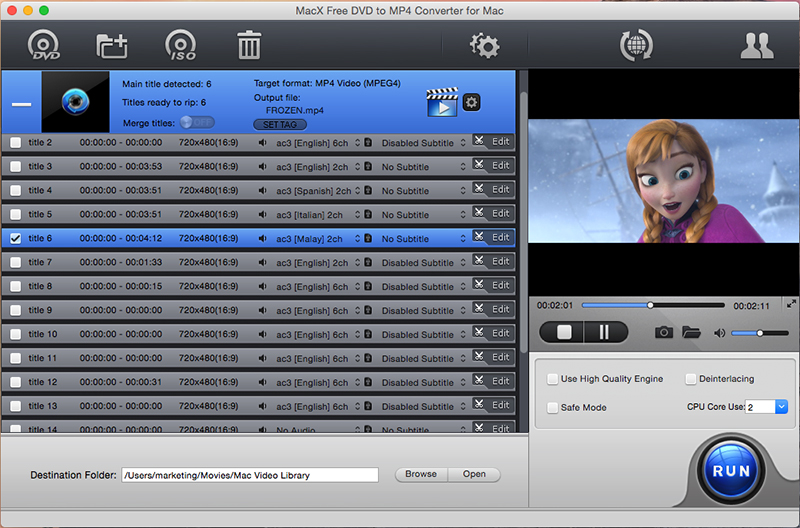 MacX Free DVD to MP4 Converter for Mac Screen shot