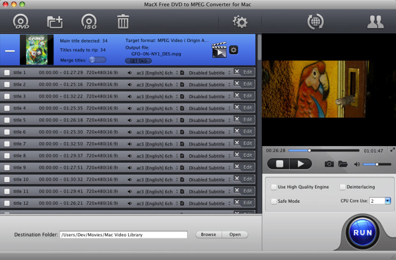 Fastest free DVD to MPEG converter software to convert DVD to MPEG MP3 on Mac quick Screen Shot