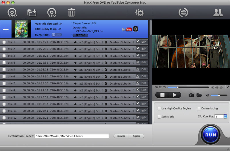 Free convert DVD to Youtube/FLV/MP4 on Mac.