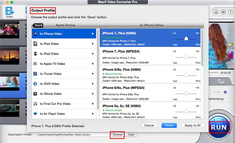 MacX Video Converter Pro - Output Profile - Choose the output profile video/audio format