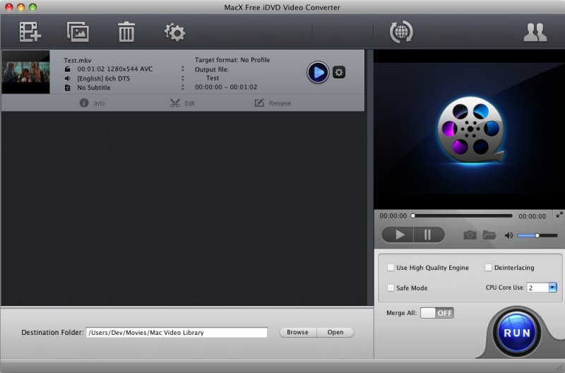 MacX Free iDVD Video Converter full screenshot
