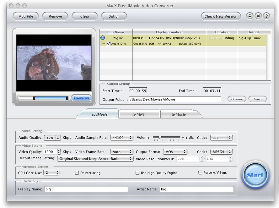 MacX Free iMovie Video Converter screenshot