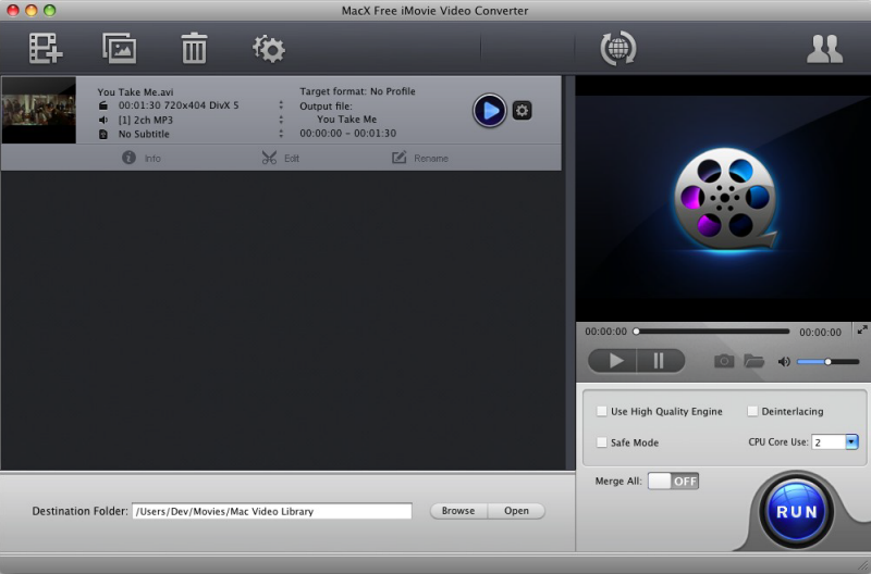 Free convert video to iMovie, MP4, MOV, MP3