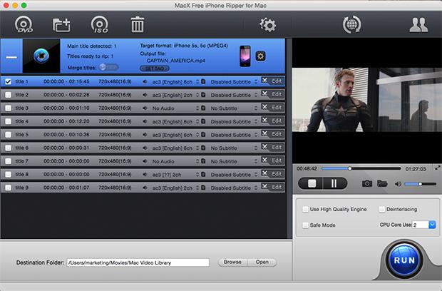 Free rip any DVD to iPhone, iPod, MP3 on Mac
