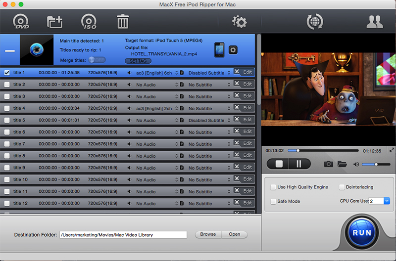 MacX Free iPod Ripper for Mac full screenshot