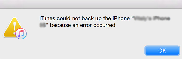iTunes could not backup the iPhone