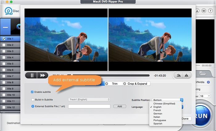 add subtitles to DVD with macx dvd ripper pro