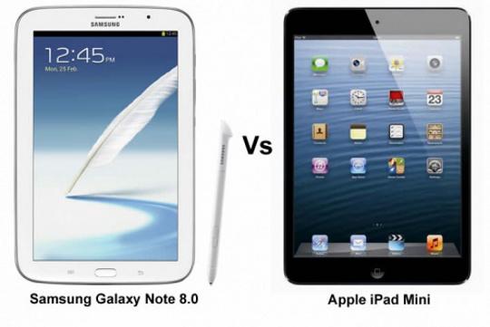 tablet battle samsung galaxy note 8 0 vs apple ipad mini. Black Bedroom Furniture Sets. Home Design Ideas