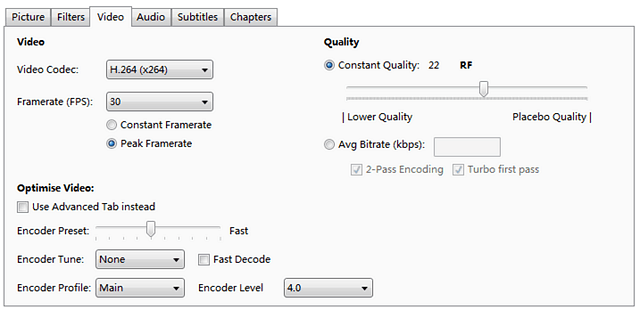 Handbrake Output File Formats