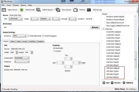 Handbrake VP9 Encoder - How to Use Handbrake to Convert MKV with VP9