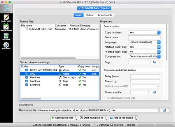 Free Download MKVToolNix for Mac to Edit MKV on Mac Easily