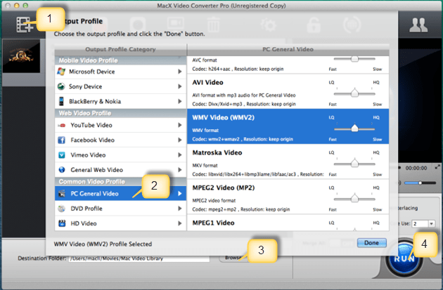 Download MacX Video Converter Pro and launch this VOB to WMV video converte