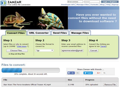 Best zamzar alternative for videos and movies conversion easy zamzar online video converting steps ccuart Images