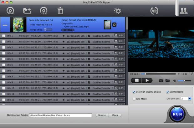 MacX iPad DVD Ripper Screen shot