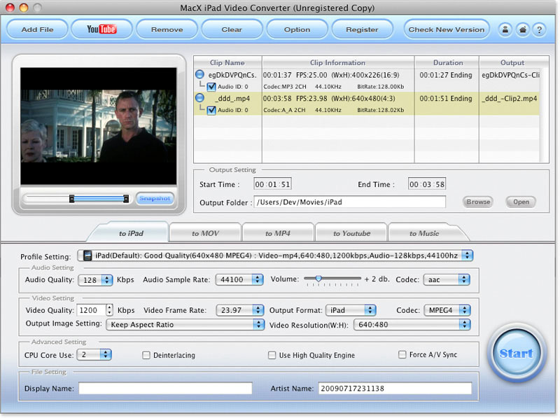 MacX iPad Video Converter Screen shot