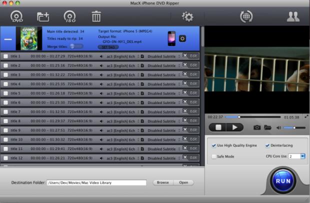 MacX iPhone DVD Ripper – 将 DVD 转换为适合 iPhone 观看的视频文件[OS X]丨反斗限免