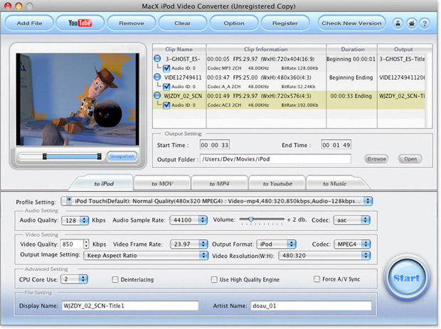 MacX iPod DVD Video Converter Pack Screenshot