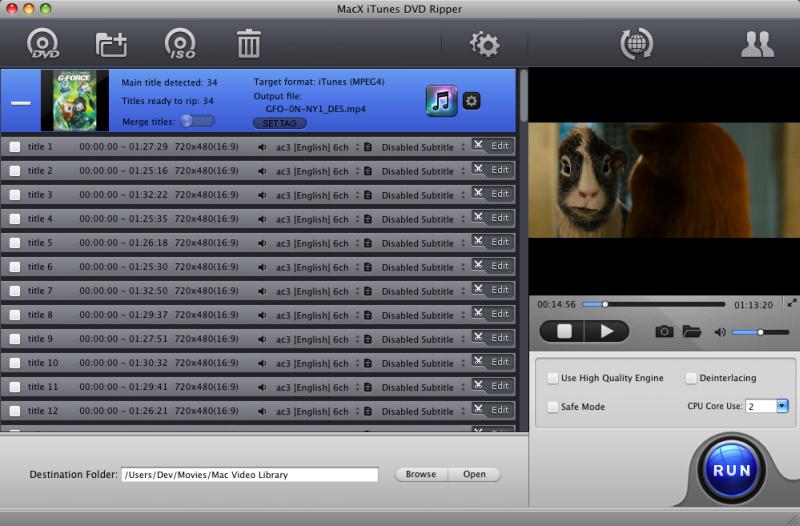 MacX iTunes DVD Ripper Screen shot