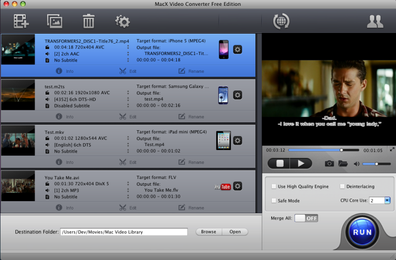MacX Video Converter Free Edition freeware screenshot