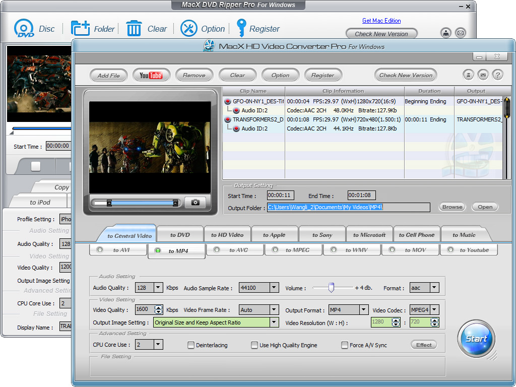 MacX DVD Video Converter Pack Windows Screen shot