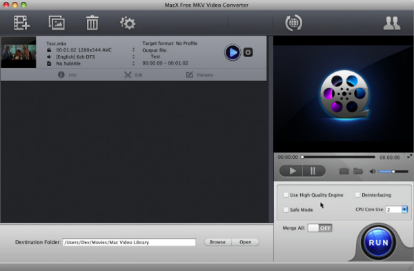 Free convert MKV to MP4 AVI MOV FLV MP3 on Mac. Fast speed and high quality well known Screen Shot