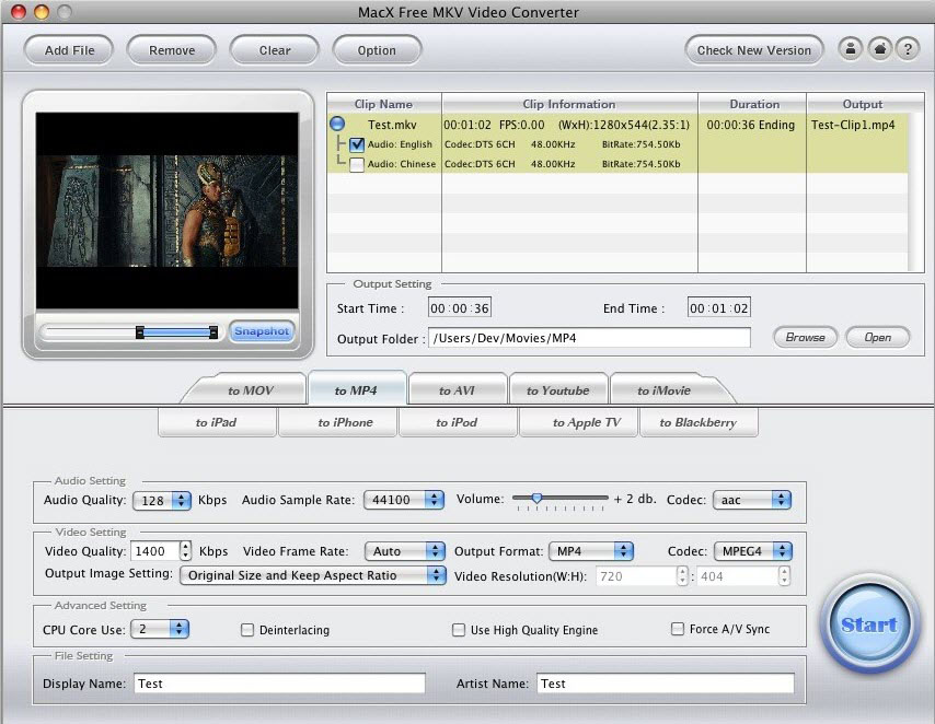 MacX Free MKV Video Converter Screen shot