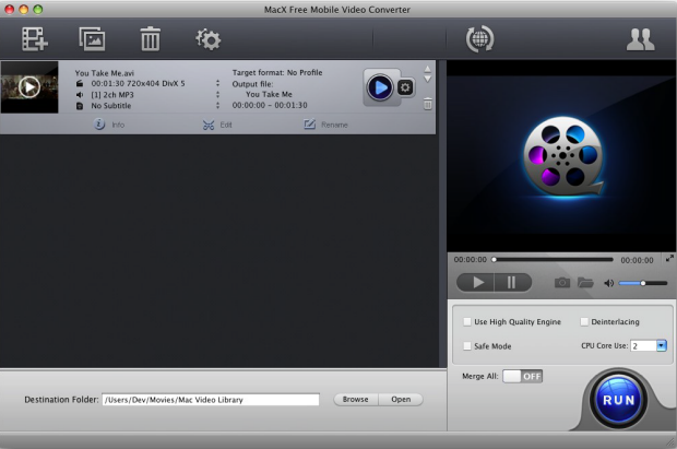 MacX Free Mobile Video Converter full screenshot