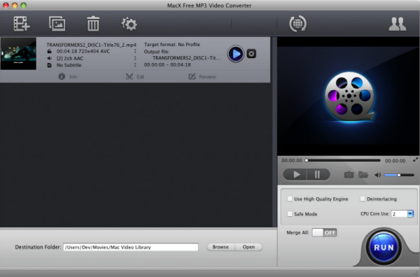 Free download MacX Free MP3 Video Converter