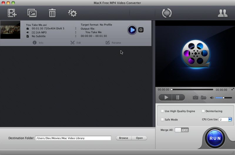 MacX Free MP4 Video Converter full screenshot