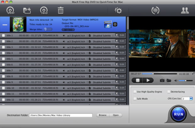 Free rip DVD to QuickTime MOV MP4 on Mac OS.